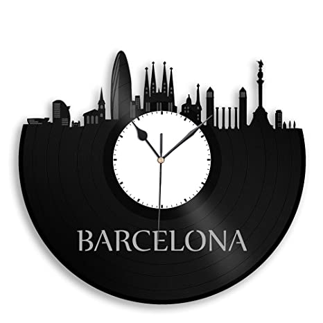 Barcelona Cataluna es vinilo reloj de pared paisaje urbano – Souvenir de viaje vinylshopus