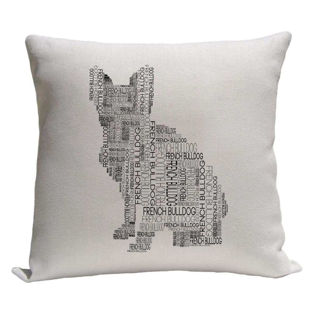 Amazon.com: Bulldog francés palabra Silueta Throw Pillow ...