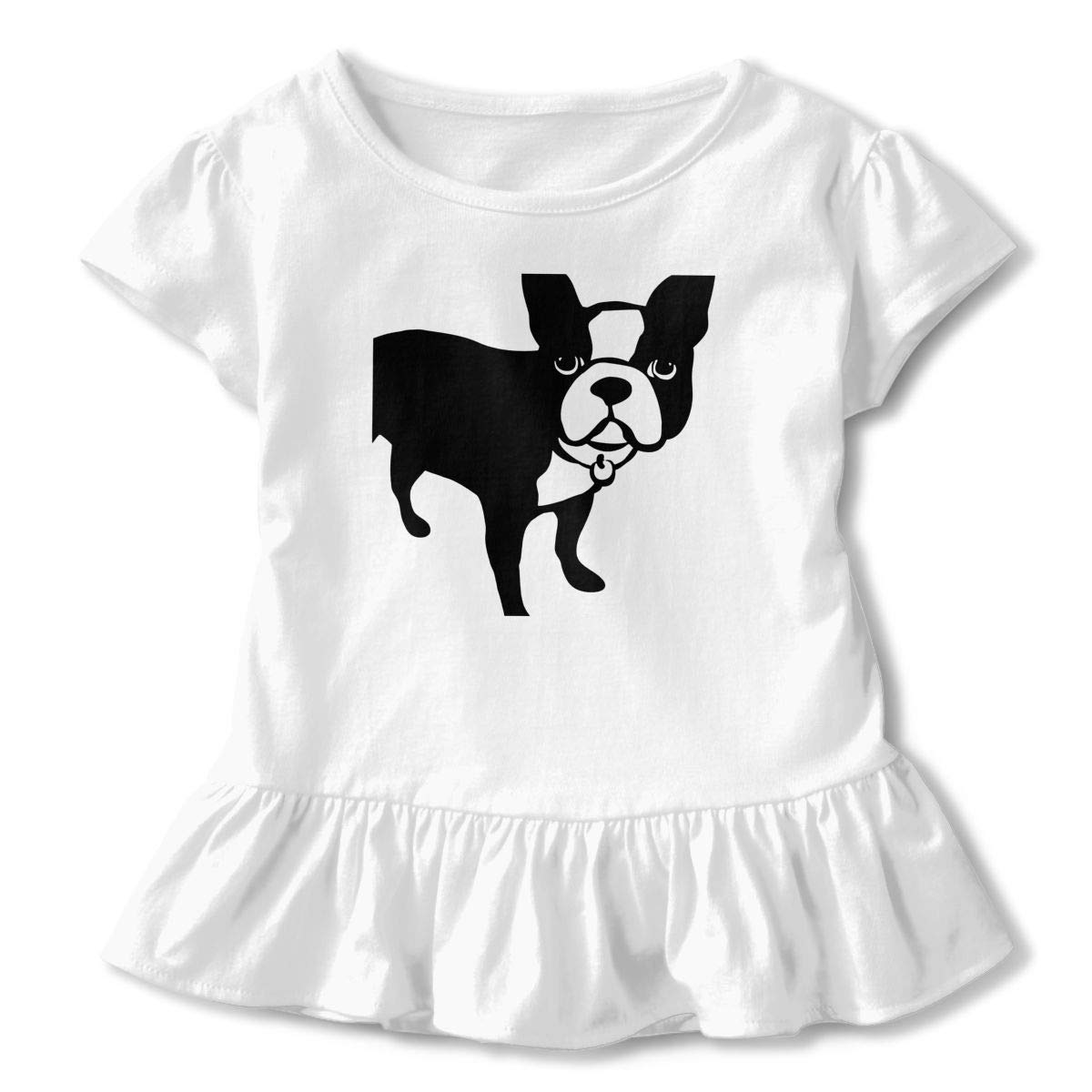 QUZtww Dog Toddler Baby Girl Basic Printed Ruffle Short Sleeve Cotton T Shirts Tops Tee Clothes White