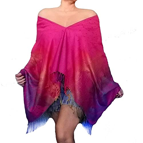 ff836b1435a49 Amazon.com  Plus Size Pink Rainbow Shawl Off The Shoulder Top Ombre Wrap By  ZiiCi  Handmade