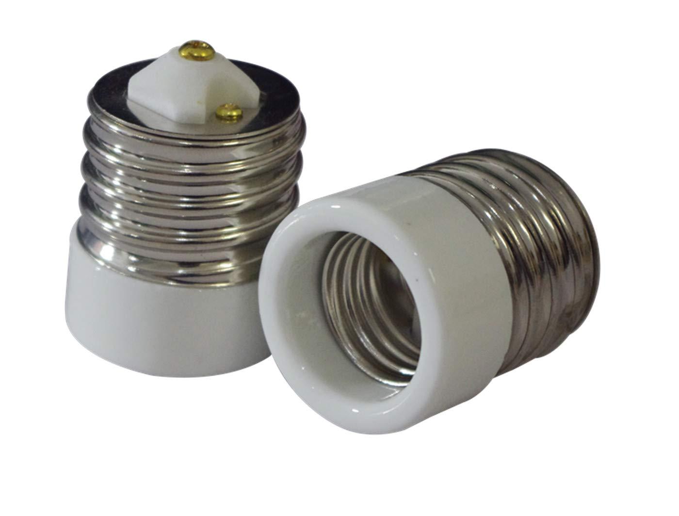 2 Packs Ali Tronics E39 to E26 Adapter (Mogul Base E39 to Medium Base E26), UL Listed,Ceramic Material-high Voltage and High Temperature Resistant
