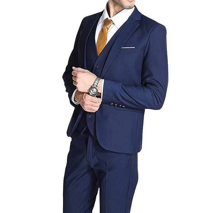 Traje de Hombre Slim Fit 3 Piezas Traje de Hombre de Negocios One Button Tuxedo Vintage