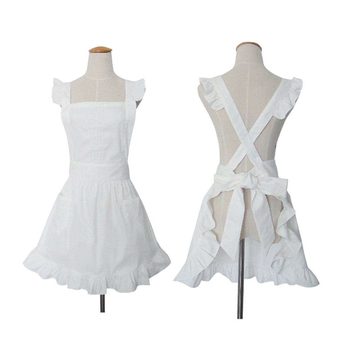 Cute White Retro Lady's Aprons for Women's Kitchen Cooking Cleaning Maid Costume with Pockets