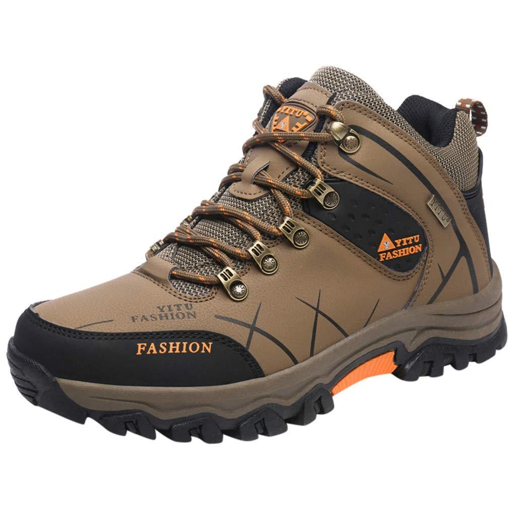 Hiking Shoes Men Summer Breathable Mesh Lightweight Sneaker Walking Trekking Training Casual Work Shoes (US:10.5, Khaki)