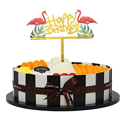 Amazon.com: Turkey Happy Birthday Cake Topper Gold Acrylic Cupcake ...
