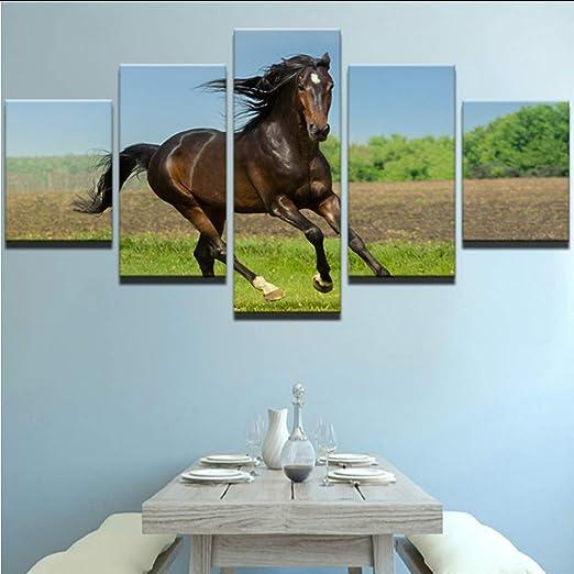 Zlxzlx Kein Rahmen Moderne Fur Malerei R Billig 5 Stucke Tier Pferd Bild Wandkunst Fur Wohnzimmer Wohnkultur Kunstwerk Leinwand Amazon De Kuche Haushalt
