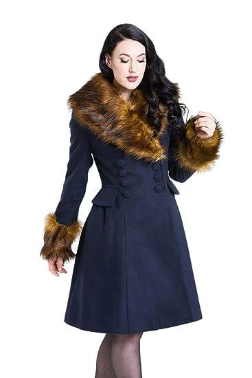 Hell Bunny Roxy Coat Abrigo de Invierno Azul/marrón: Amazon.es: Ropa y accesorios