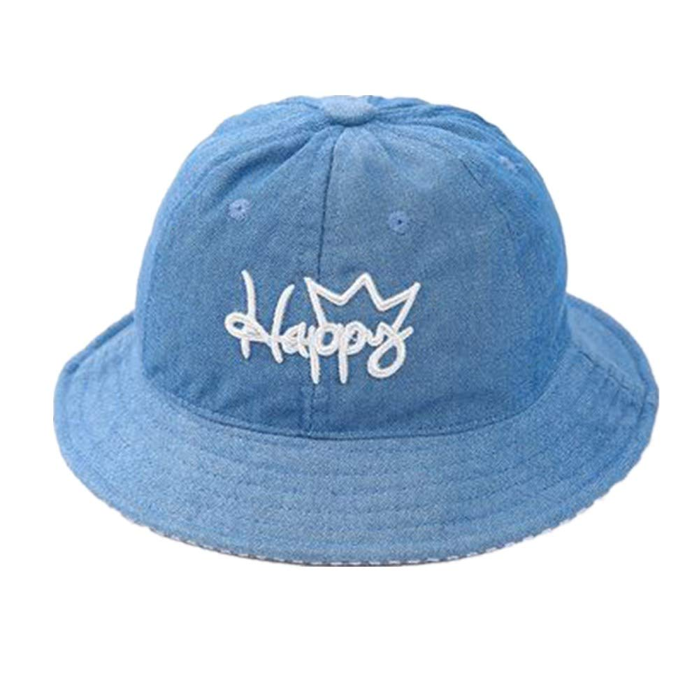 Baby Bucket Sun Hat Happy Embroidery Unisex Modern Summer Hat for Girl /& Boy