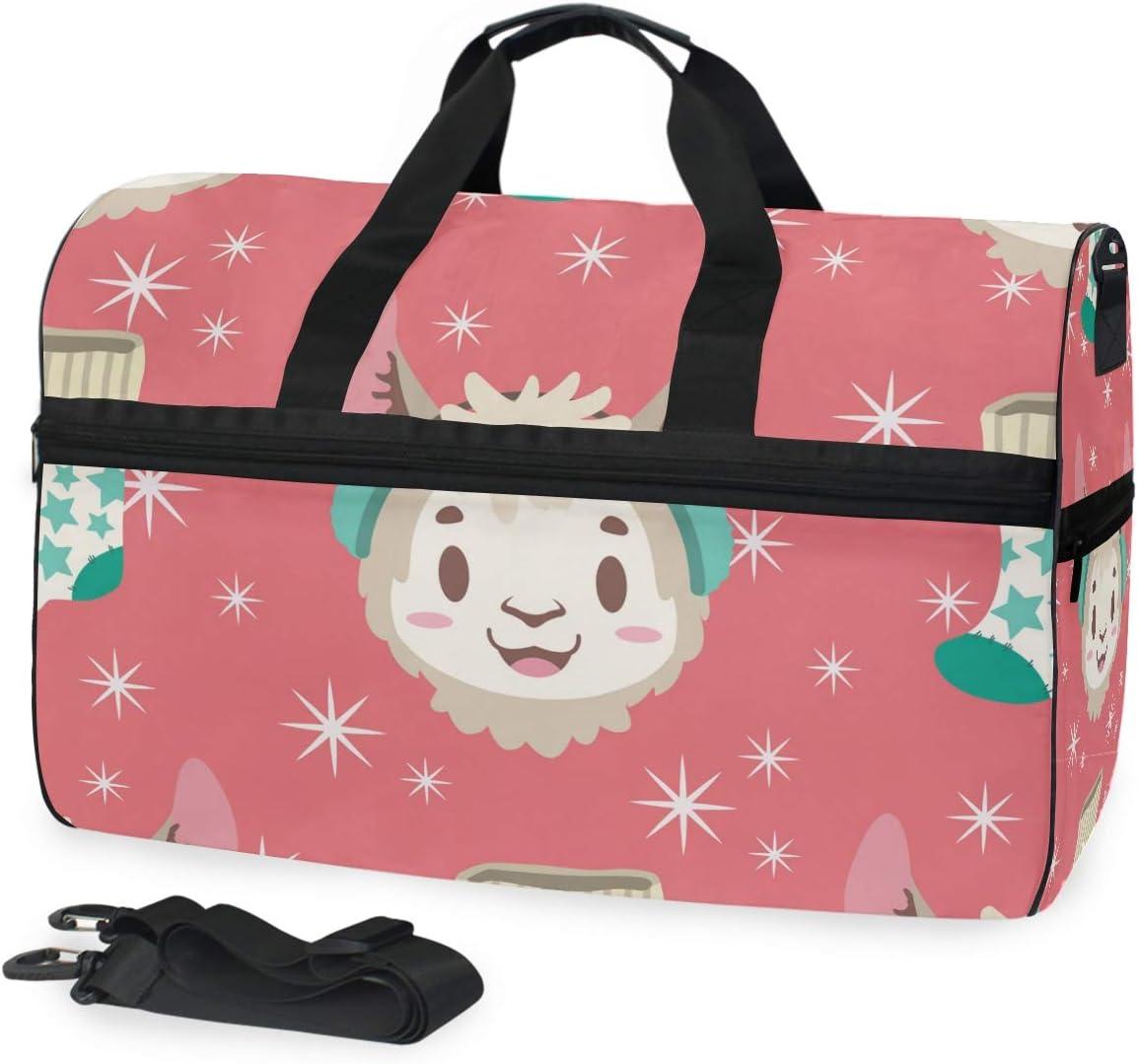 Travel Duffels Llama And Christmas Stocking Duffle Bag Luggage Sports Gym for Women /& Men