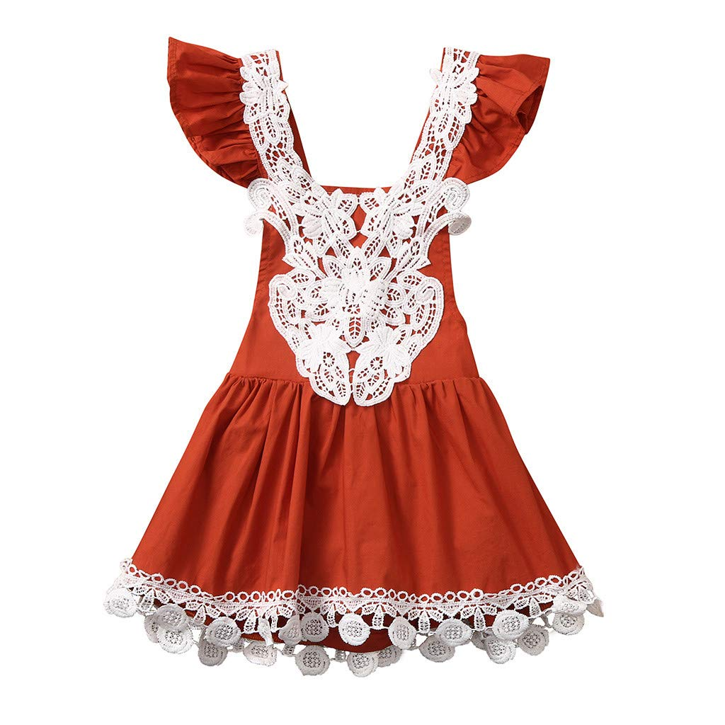 JiaMeng Summer Lace Backless Fly Sleeve Tassel Dress Kid Toddler Baby Girls Clothes