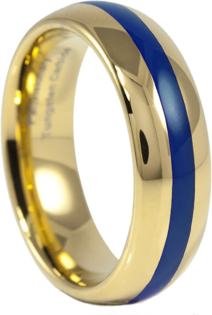 Panvisionary Mens Thin Blue Line Blue 7 Cz Stone Ring Tungsten Carbide Wedding Band