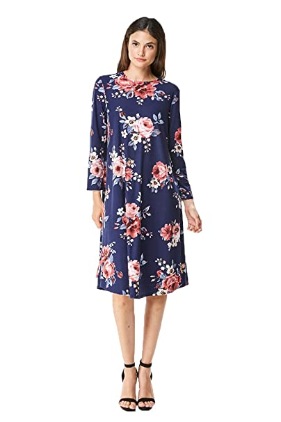 MoDDeals Women's Long Sleeve Midi Dress Solid Or Floral A-Line and Swing T-Shirt (Small, Navy Floral)