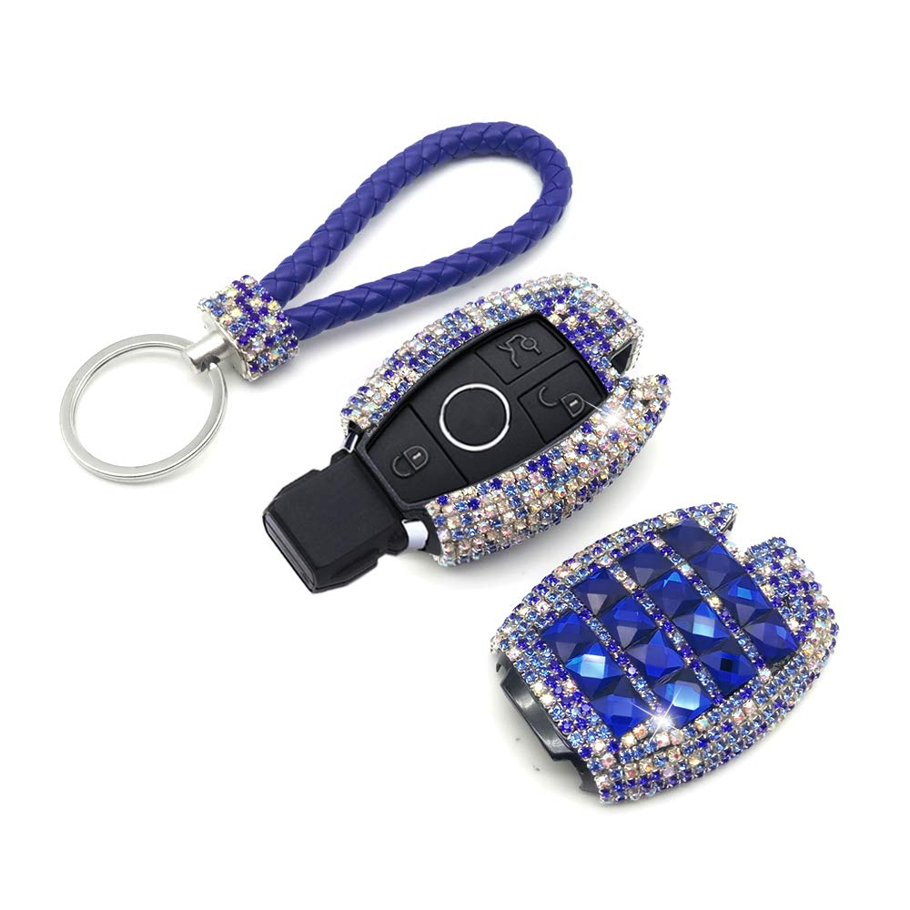 Thor-Inst Car Key Case Key Shell Fob Key Cover Case Bag Holder Key Chain with Bling Diamond For Mercedes-Benz C E S M CLS CLK GLK GL Class 2/3-button Keyless Entry Remote Control Smart Key (Blue)