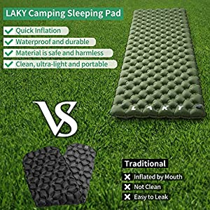 LAKY Camping Sleeping Pad, Compact and Portable Camp Mat & Inflatable Travel Pillow,3.4''-Thick, Waterproof&Ultraligh,for Backpacking, Hiking & Outdoor Activities(Multiple Colour) (Color: Green, Tamaño: 190*62*8cm)