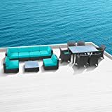 Luxxella Outdoor Patio Bella 14 Pcs Modern Turquoise Furniture All Weather Wicker Couch Sofa Set Review