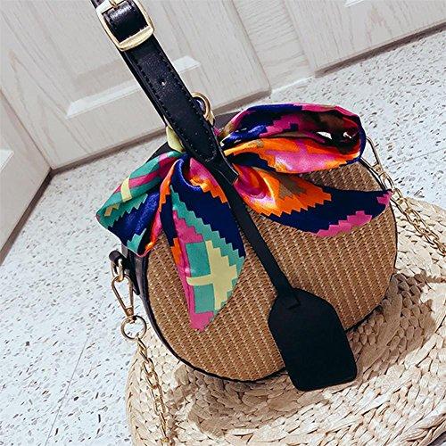 de sac opp mode par d'épaule sac sac tissé plage nouvelle messager ruban de main rond paille à petit Noir de sac sac 2018 gU1Zqp