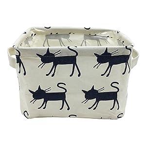 Small Foldable Canvas Storage Basket with Handles, Cotton Linen Storage Bin Organizer for Nursery Kids Shelves & Desks (Blue Cat)
