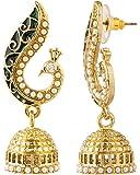 Voylla Peacock Inspired Pair Of Jhumki Earrings With Green Enamel