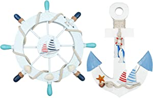 """Meching 2 Pack 11"""" Nautical Decor Beach Wooden Ship Wheel and Wood Anchor with Rope Nautical Boat Steering Rudder Wall Decor Door Hanging Ornament Beach Theme Home Decoration(Light Blue)"""