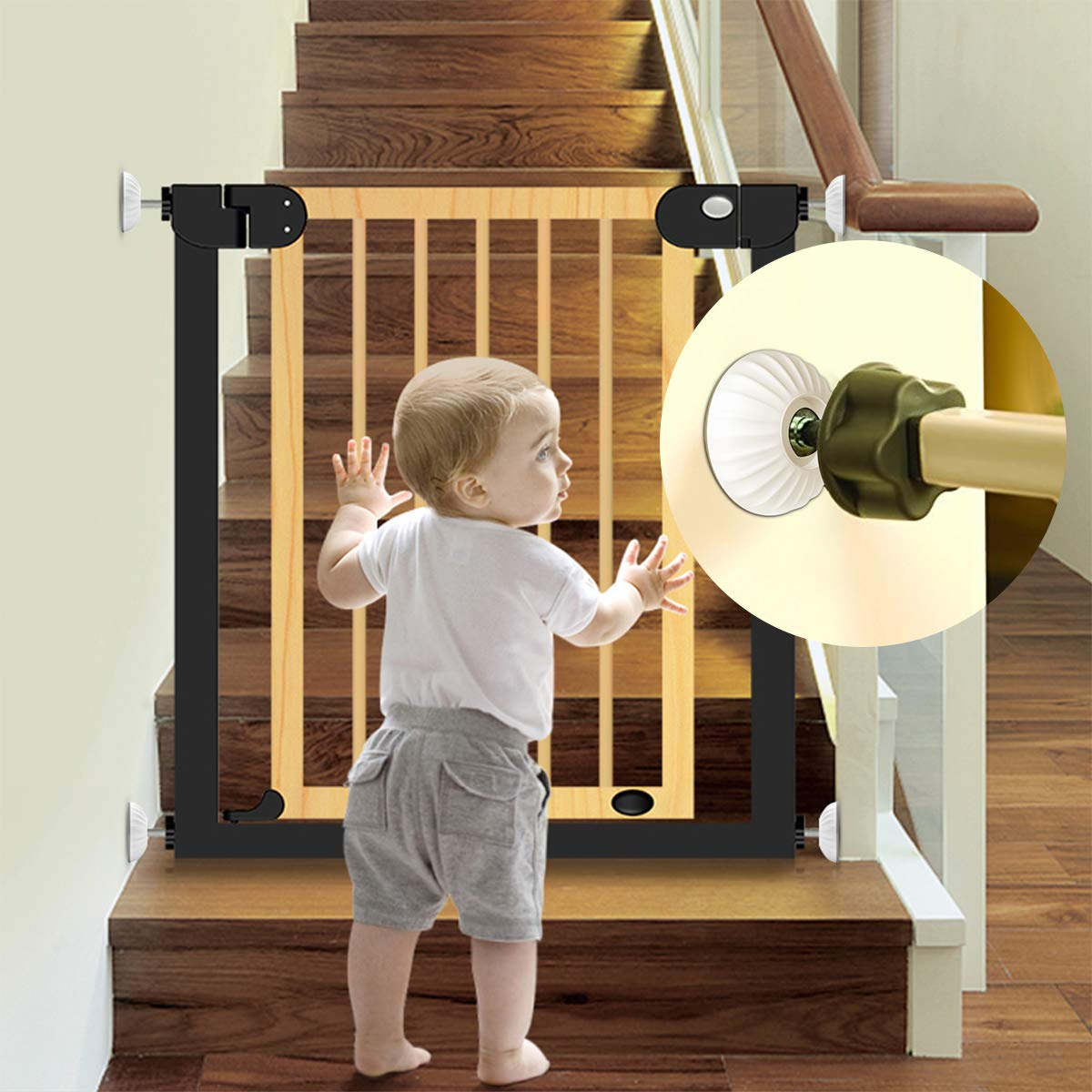 LATME Baby Gate Wall Protector Make Pressure Mounted Safety Indoor Gates More Stable-Wall Damage-Free Fit for Bottom of Gates Doorway Stairs Baseboard Work with Dog Pet Child Gates (White, Round) by LATME (Image #1)