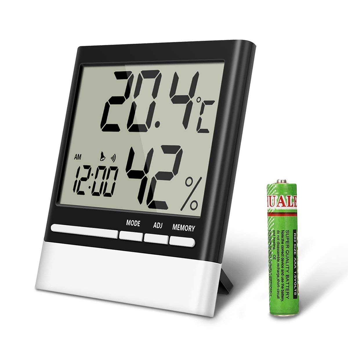 Eivotor Temperature Hygrometer Indoor Thermometers Humidity Monitor Electronic Thermometer Circuit Led Lcd Display Home Digital Dual Wall Alarm Clock Day
