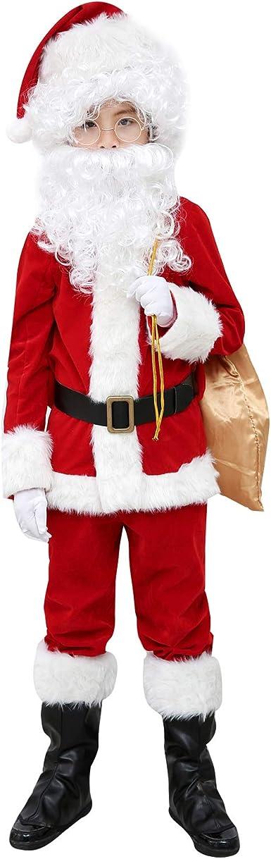 Elfjoy Childrens Santa Suit Kids Christmas Halloween Costume Cosplay Set of 11 Pcs