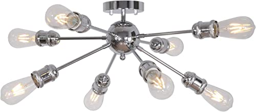 MELUCEE 8 Lights Contemporary Chandelier Sputnik Light Chrome Industrial Ceiling Light Flush Mount, Modern Pendant Light for Kitchen Island Bedroom Hallway