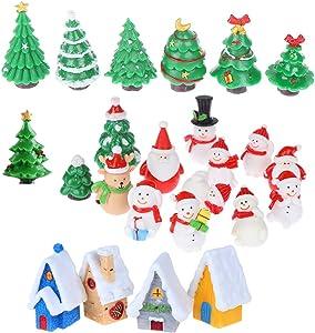 24 Pieces Miniature Resin Toys Christmas Tree Snowman Santa Claus Houses Figurines Fairy Garden Landscape Crafts Ornament
