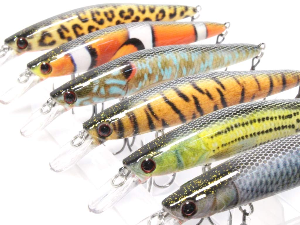 wLure 4 1/2 inch 7/16 oz Jerbait Wide Wobble RealSkin Minnow for Bass Fishing Bass Lure Fishing Lure with Tackle Box HM673KB by wLure