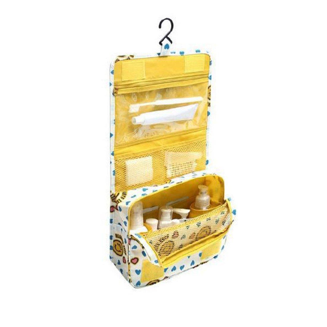 Trousse de Toilette Sac Cosmétique Trousse Maquillage Sac de Toilette Trousse de Voyage Grande Pliable Multifonction Étanche Compact Oxford avec Crochet Suspendu,Compartiments de Hmjunboys (Jaune) FW3HM