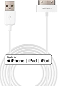 2 Pack HomeSpot Apple Certified MFi 30 Pin to USB Charge and Sync Charging Cord Charger Compatible with iPhone 4/4s, iPhone 3G/3GS, iPad 1/2/3, iPod - 6.6 Feet 2 Meter White