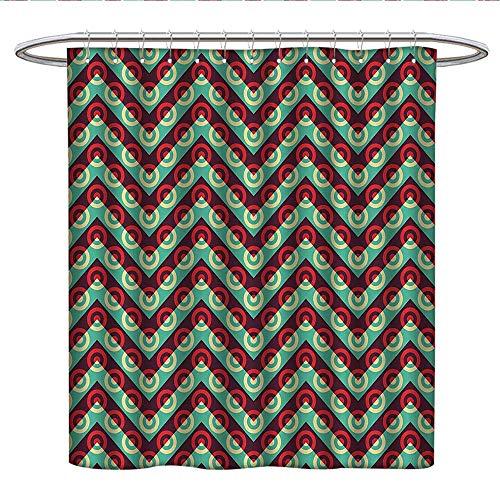 Anshesix Geometric Circlehookless Shower curtain50s Pop Art Style Triangular Stripes Spiral Hoops Retro Poster PrintColor Shower curtainMaroon Sea ()