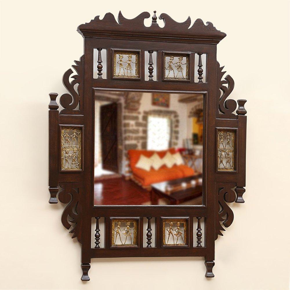 ExclusiveLane Teak Wood ''Maharaja'' Wall Mirror With Dhokra Work In Walnut Brown