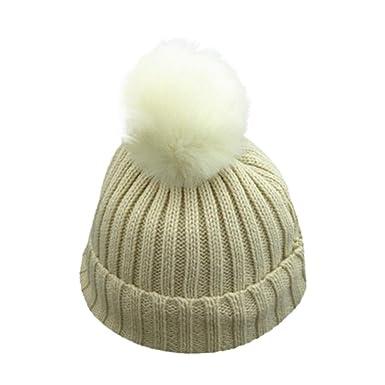 Felicy Bonnet Bébé Fille Garçon Naissance Ponpom Bonnet Enfants bébé  Chapeaux Laine tricotée Hemming Chapeau pour 76ce64d4ea1