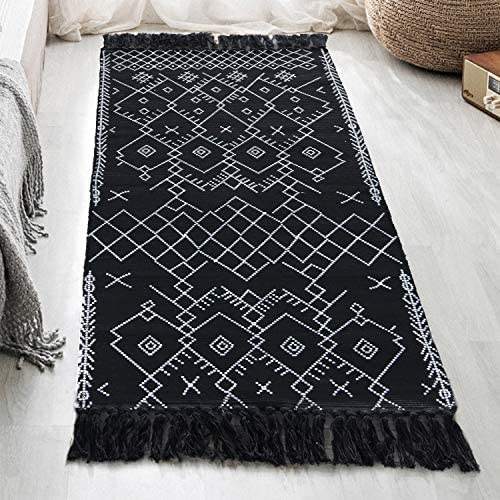 Boho Rug Runner 2 x 4.3 , Black White Bathroom Rug, Farmhouse Cotton Woven Small Tassels Fringe Area Rug for Kitchen Laundry Bedroom Doorway