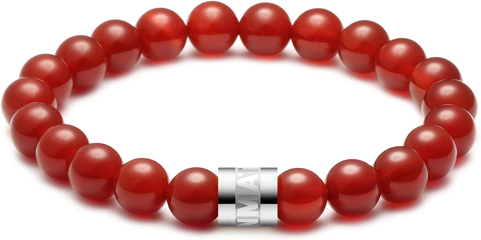 MATT HANN Titanium Steel Red Agate Bracelet Original Handmade Grouding Stone Protection