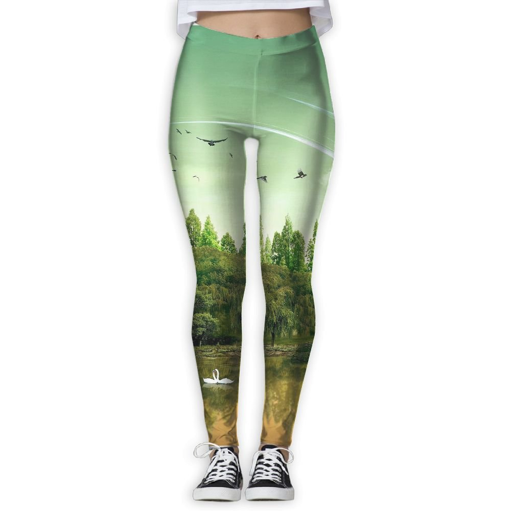 Homlife Swan Coconut Tree Art Yoga Leggings Pants Sport ...