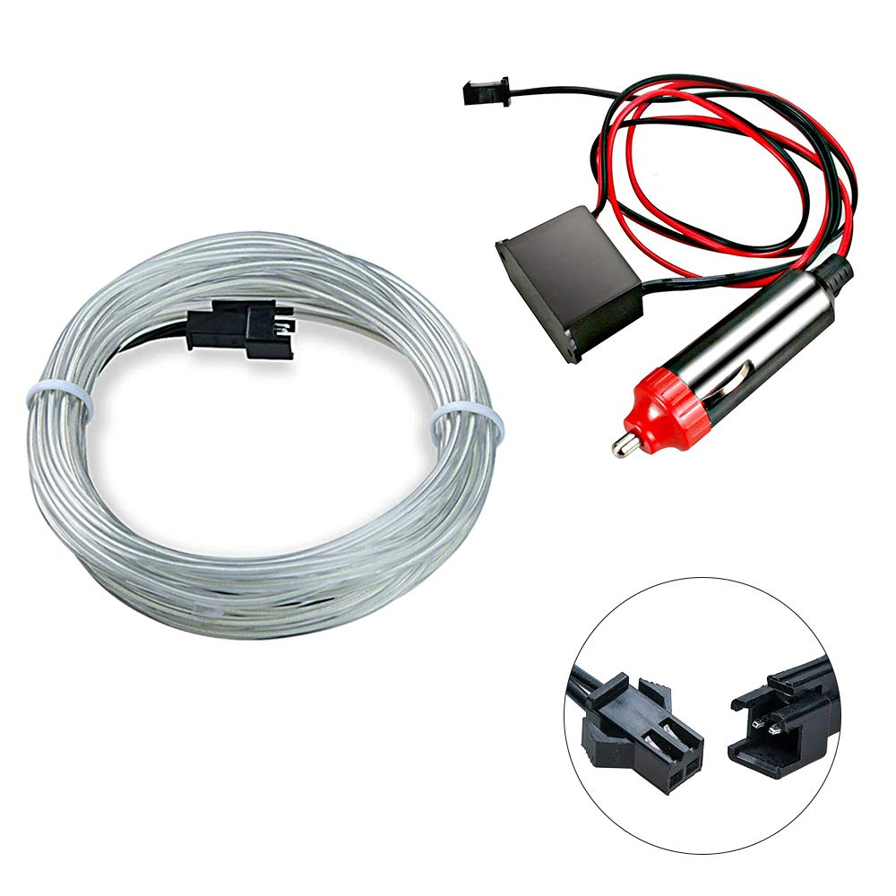 EL Wire Strip Lights 1 Meters Incandescente Luce al neon Strobing per Auto Decorazione-Bianco HopeU5 Filo Elettroluminescente