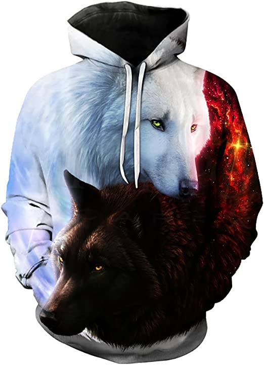 Wolf Printed Hoodie Unisex Sweatshirts Boy Pullover Fashion Tracksuits Animal Cool Design Streetwear Clothes