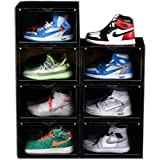 AOTENG STAR Storage Shoes Box Womens Mens Shoe Storage Display Box Plastic Foldable Stackable Shoe Container Black Closet She