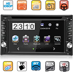 8GB Car GPS Navigation System, Double Din 6.2 inch Bluetooth Car Stereo Receiver in Dash, 1080P HD Digital LCD Monitor with Reversing Camera, Support AM/FM/DVD