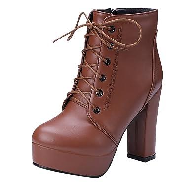 Damen Schnür Plateau Stiefeletten Blockabsatz Ankle Boots mit Fell und Nieten Warm Herbst Winter Schuhe UH Günstig Kaufen Großen Verkauf FpAke
