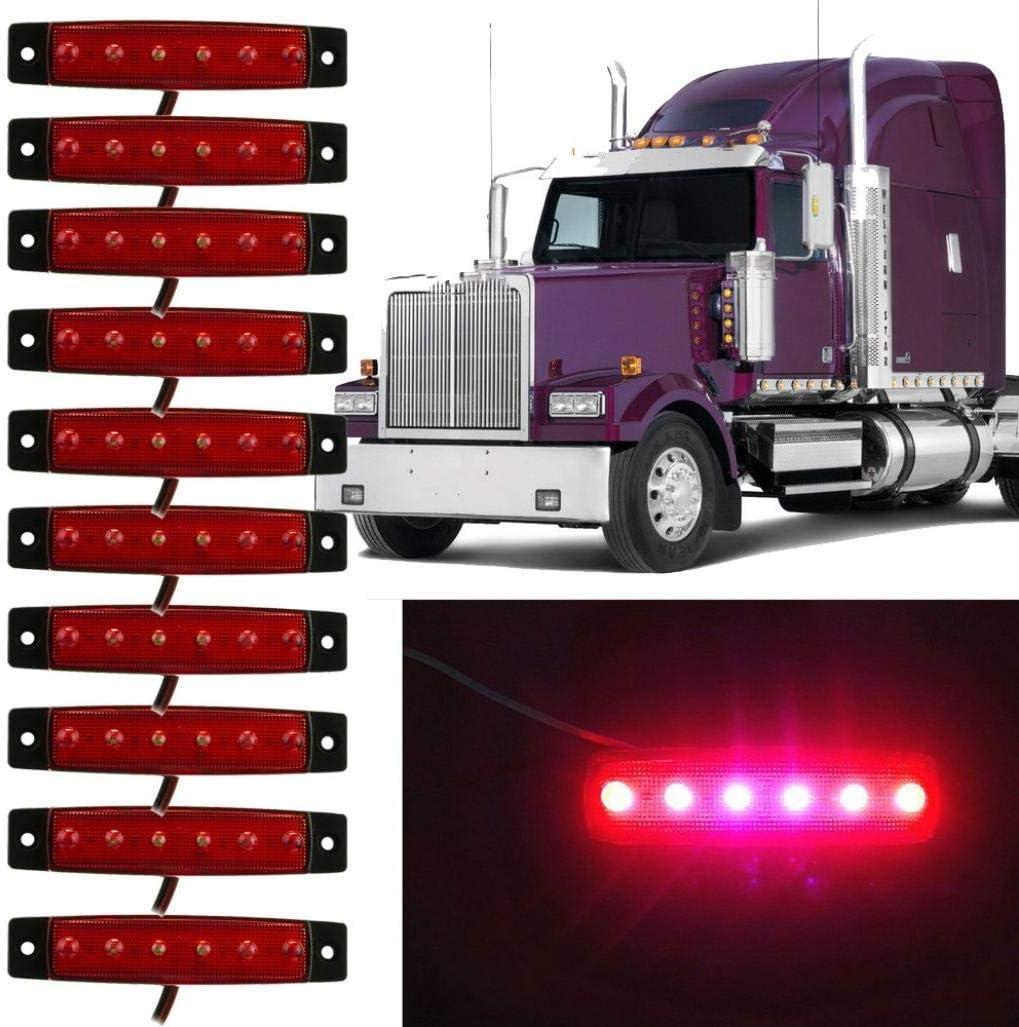 Blau 10 St/ücke LED Lkw Seitenlichter 6 SMD LED Seitenmarkierungs-kontrollleuchte Vorne Hinten Seitenlicht Positionslampen 12 V f/ür Auto LED-Seitenmarkierungsleuchten