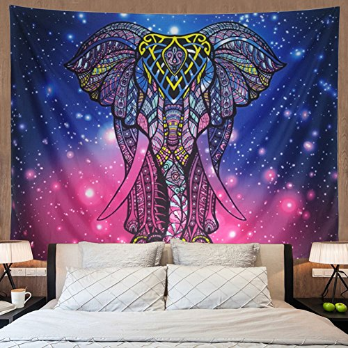watercolor elephant tapestry blue purple