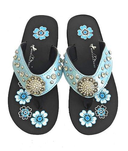 04bc260f5221 Montana West Flip Flops Sandal Shiny Straps Crystals Floral Concho Blue 6