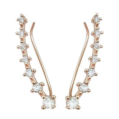 QUKE 925 Sterling Silver Rose Gold Tone Cubic Zirconia Crystal Ear Cuff Ear Climber Earring for Girls Women EvPm6IV6U