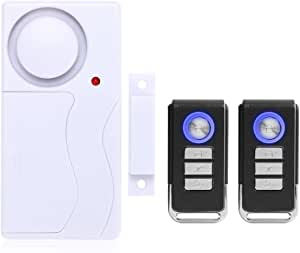 Mengshen Door and Window Alarm, Anti-Theft Burglar Wireless Alarm with Remote Control for Home Security, Easy to Install, 105db (Includes 1 Alarm and 2 Remote Control)