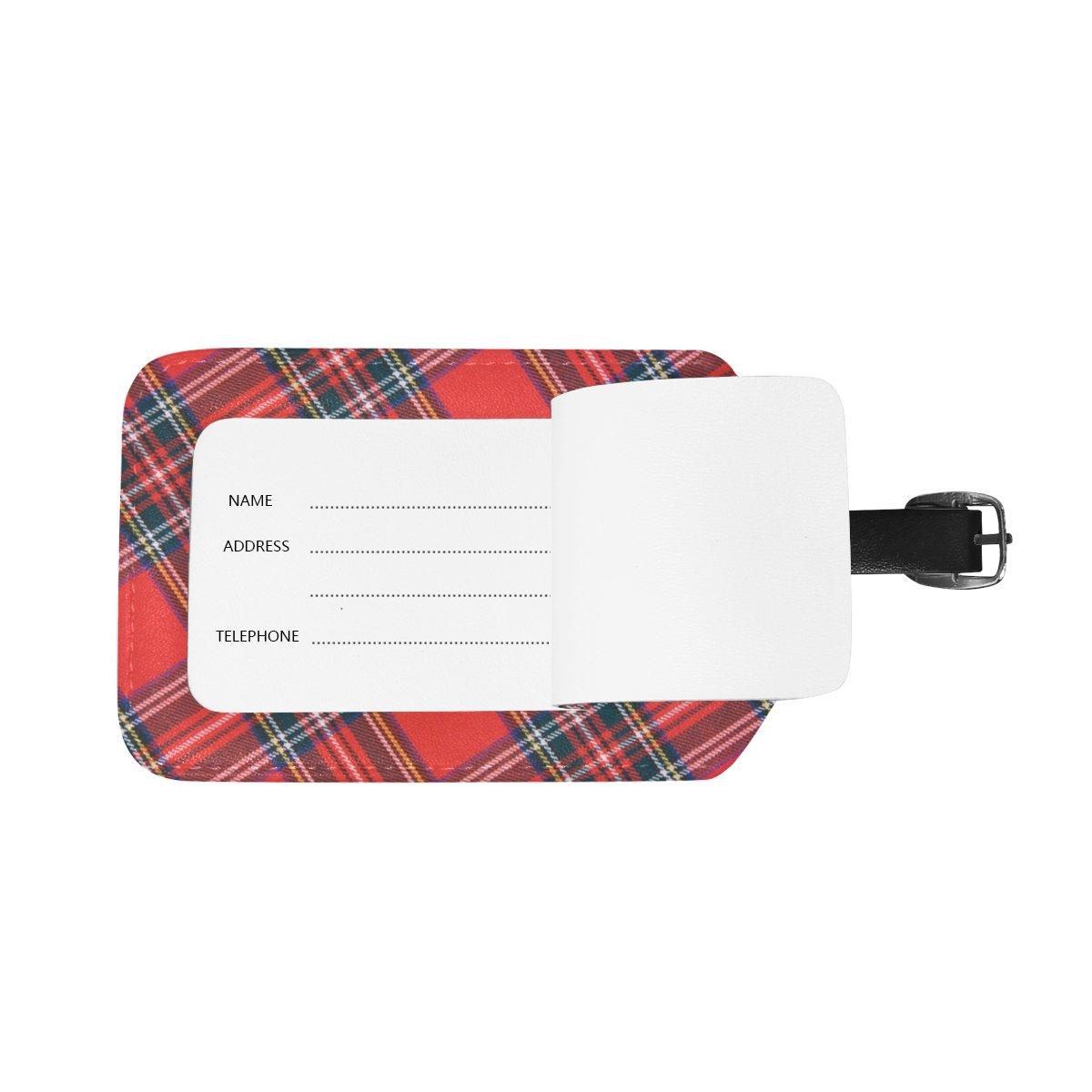 COOSUN Royal Stewart Tartan Etiquettes de Bagages Voyage Labels Nom Tag Titulaire de la Carte pour Les Bagages Valise Sacs /à Dos Sac 2 PCS M Multicolore