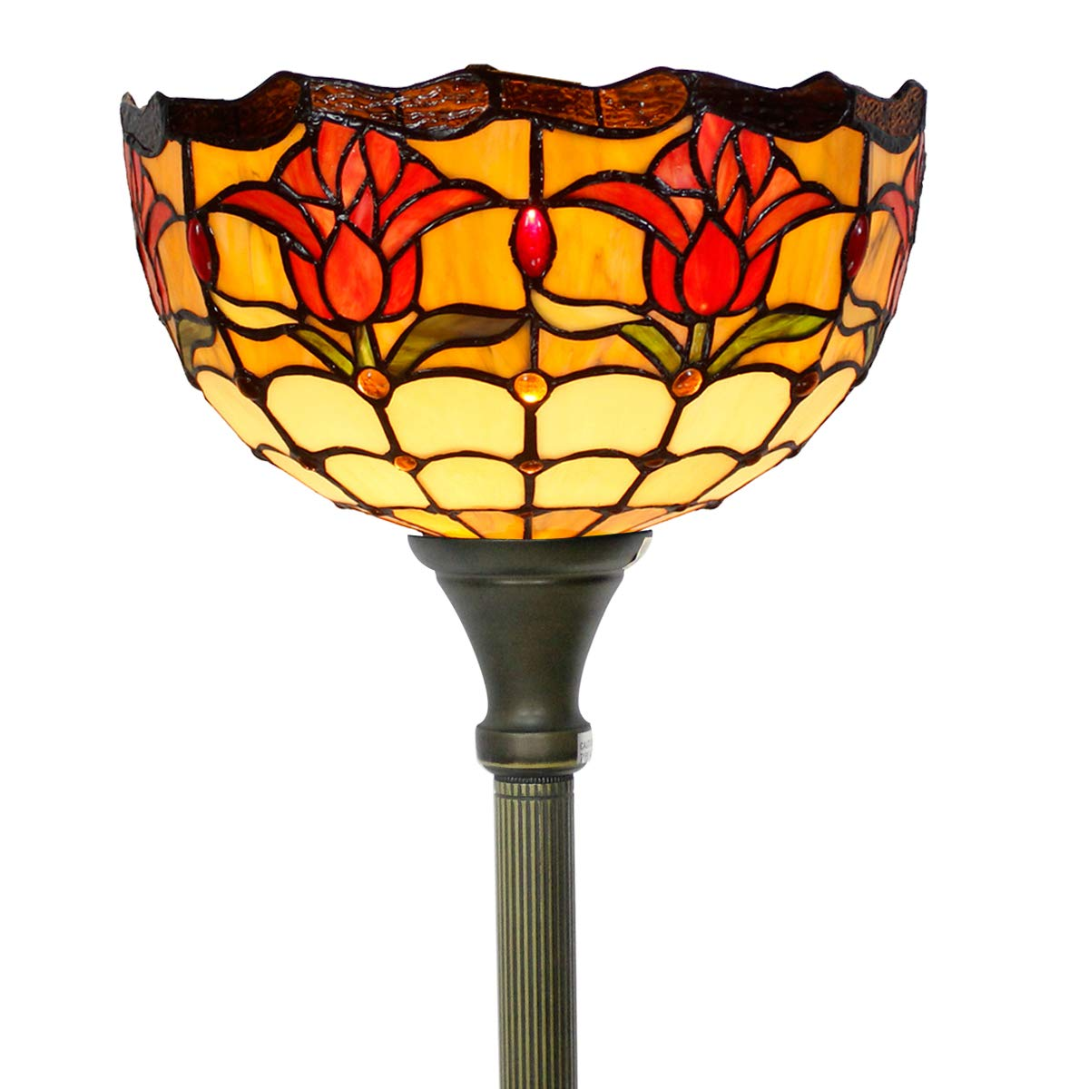 Tiffany Style Torchieres Floor Lamp Table Desk Standing Lighting Wide 12 Tall 66 Inch Tulip Flower Design Cream Stained Glass Lampshade for Living Room Bedroom Antique Set S030 WERFACTORY by WERFACTORY