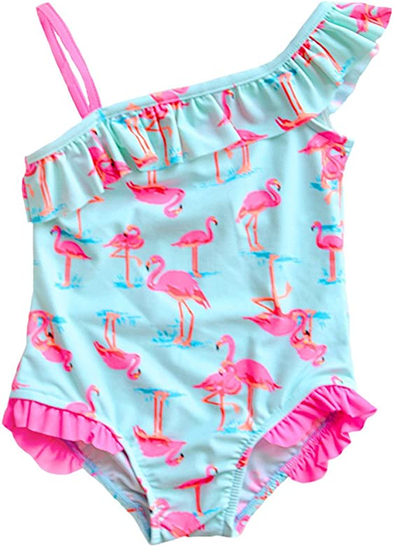 UK Stock Baby Girls Flamingos Swimwear Swimsuit Beachwear Bathing Suit One Piece